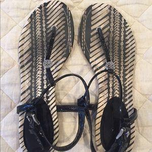 Coach black patent sandals